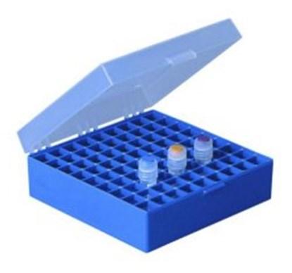 Slika za kriokutija 133x133x52mm pp autoklavirajuća plava + razdjelnik 9x9 mjesta