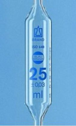 Slika za pipeta trbušasta staklo 5ml: 0,015ml dvije oznake klasa as graduirana plavim
