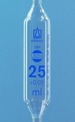 Slika za pipeta trbušasta staklo 50ml jedna oznaka klasa as graduirana plavim+usp cert.