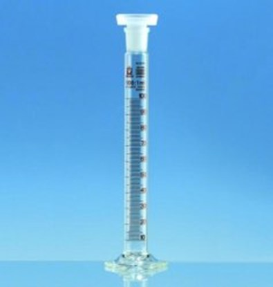 Slika za menzura za mućkanje staklo visoka 100ml graduirana smeđim klasa b + pp čep