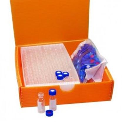 Slika za viali 2u1 kit staklo bijeli nd9 1,5ml+čep navoj plavi+silikon/pfe crven pk/100
