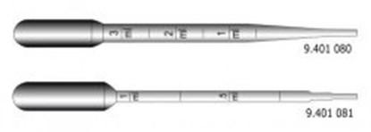 Slika za pipete pasteur pe 3ml 150mm graduirane sterilne pojedinačno pk/1000